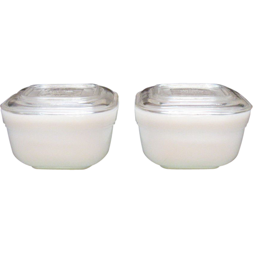 Vintage Anchor Hocking Fire King White Refrigerator Dishes 1950-60s Very Good Condition