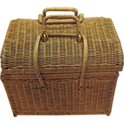 Vintage Wicker Picnic/Sewing Basket 1950-60s Very Good Condition