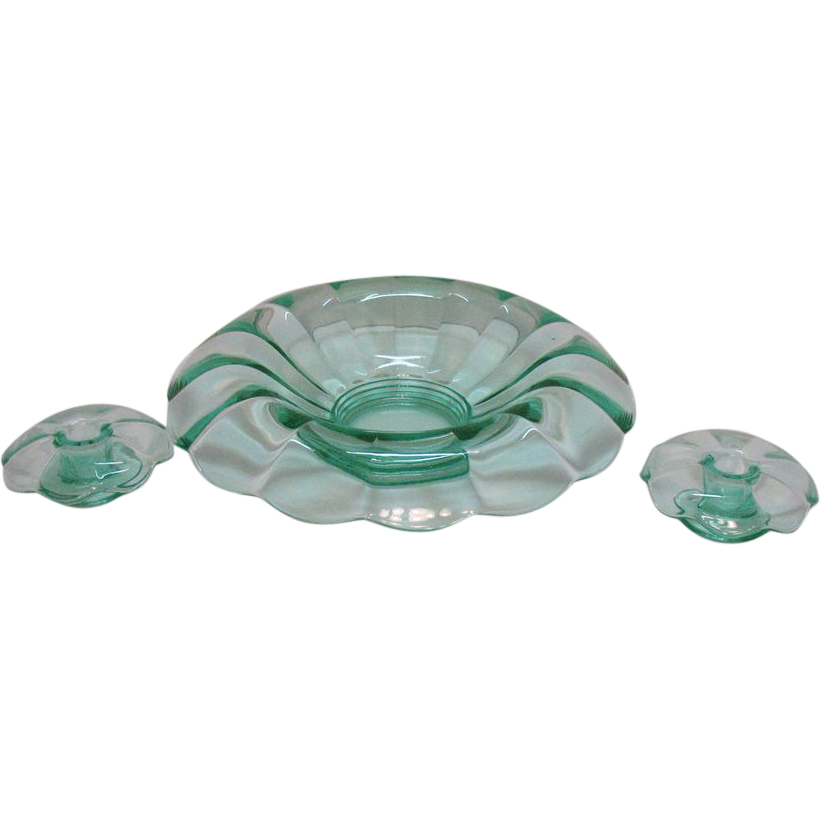 Vintage Paden City Green Console Bowl with Candleholders Archaic Pattern 1920-30s Excellent Condition