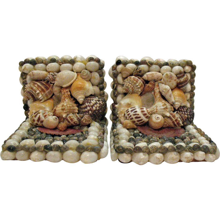 Vintage Folk Art Seashell Bookends 1950-60s Very Good Condition