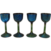 Vintage (4) John Cook Studio's Goblets Peacock Feather Motif 1983 Signed Excellent Condition