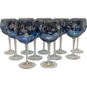 (11) Vintage Italian Wine Glasses with Etched Fish Motif 1960s Hand Blown Excellent Condition