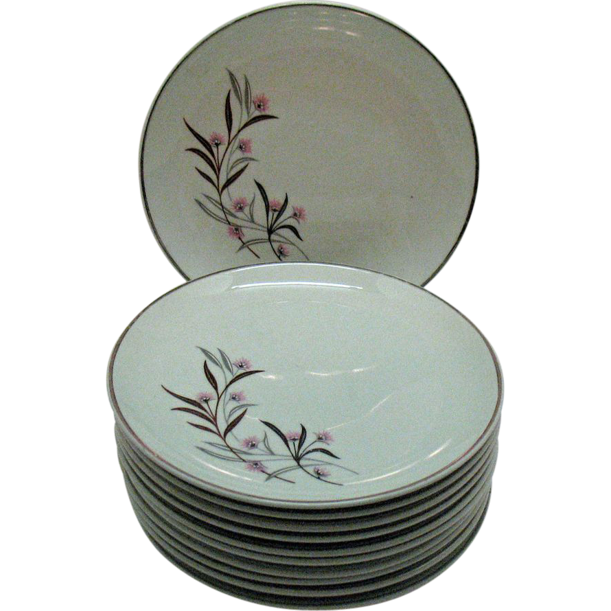 Vintage (11) Bread & Butter Plates by Universal Pottery Co Straw Flower Pattern 1934-56 Good Condition