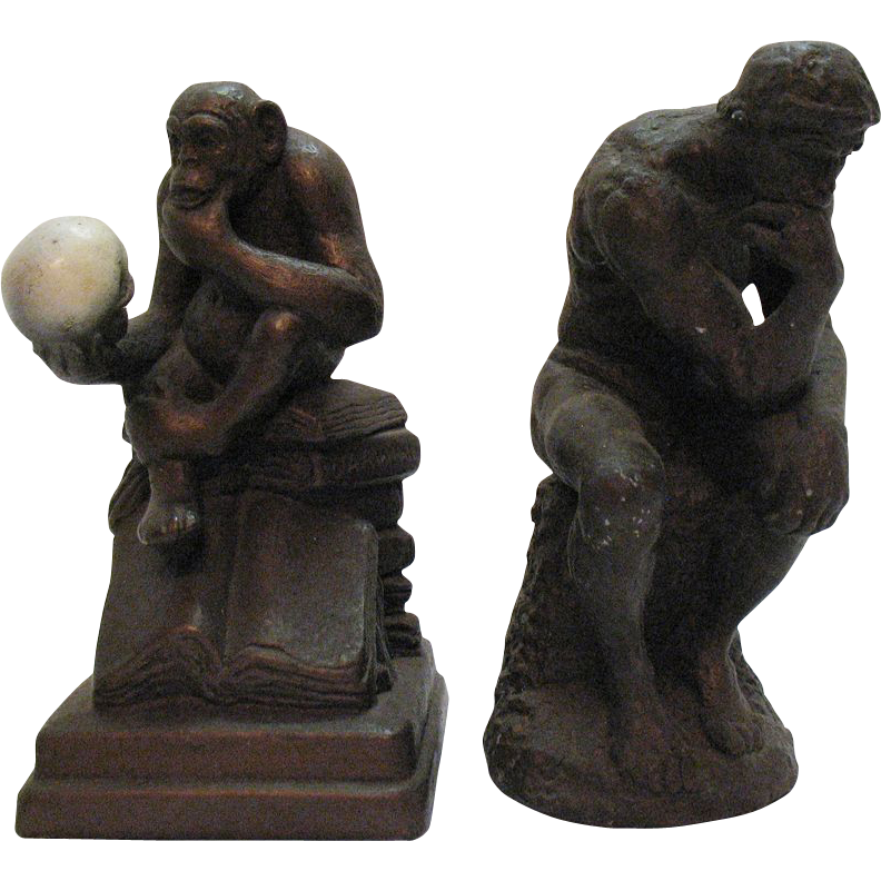Vintage Austin Productions Sculpture Bookends The Thinker & The Philosophizing Monkey 1960s Good Condition