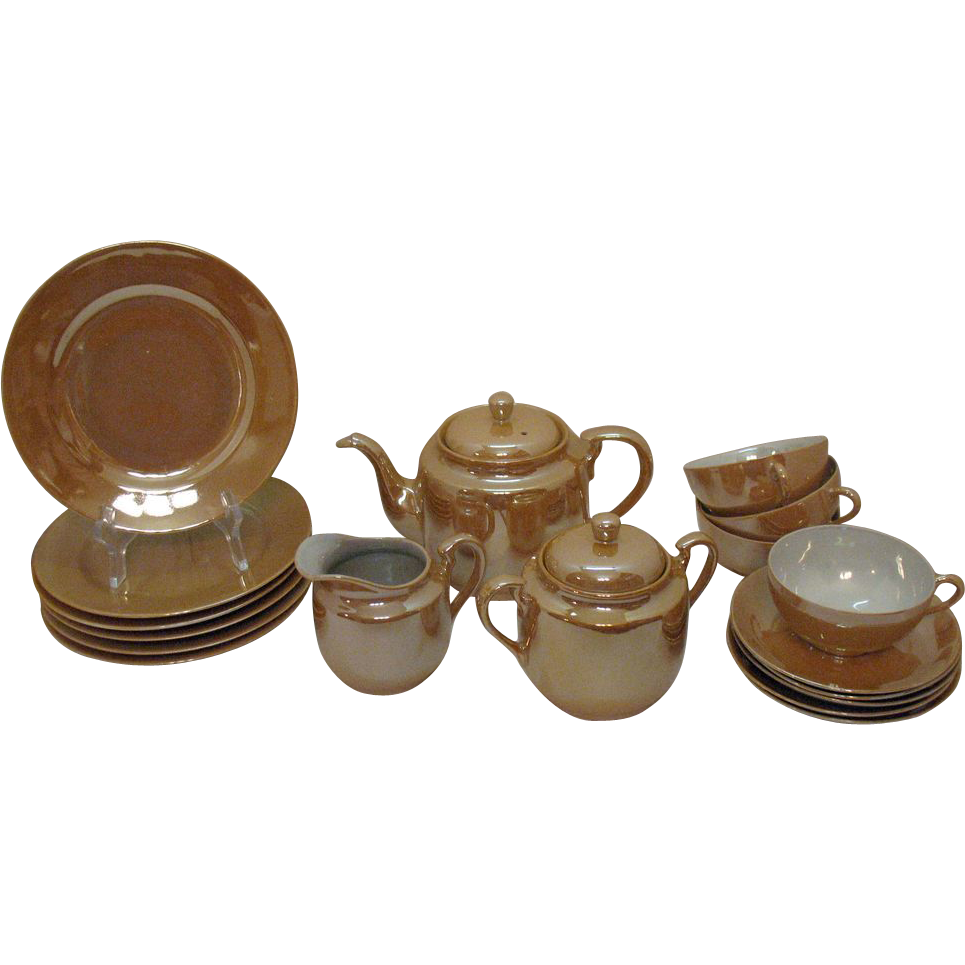 Vintage Japan Lusterware Tea Set 1950s good Condition