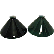 Vintage Emerald Cone-Shaped Glass Shades 1930-40s Good Condition