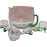 Vintage Crystal Punch Bowl Applied Green Handle Glass Ladle 6 Punch Cups Very Good Condition