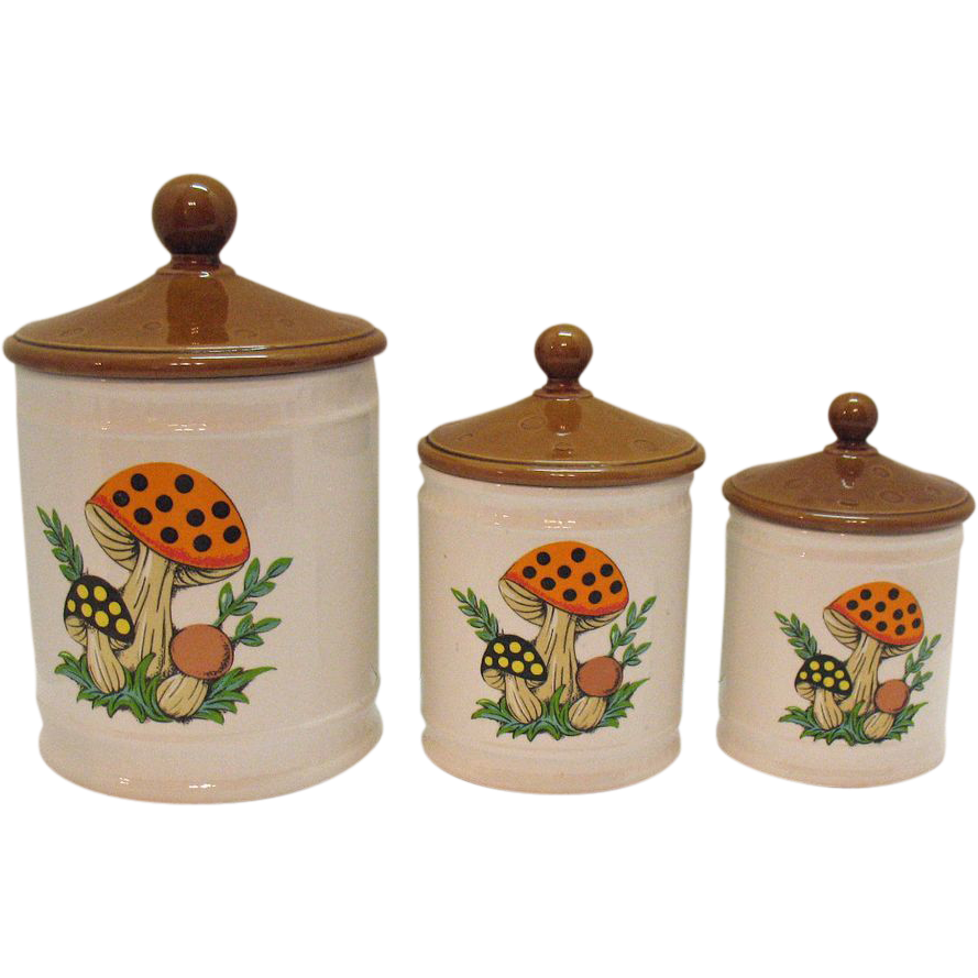 Vintage Ceramic Canister Set with Mushrooms Motif 1980s Very Good Condition