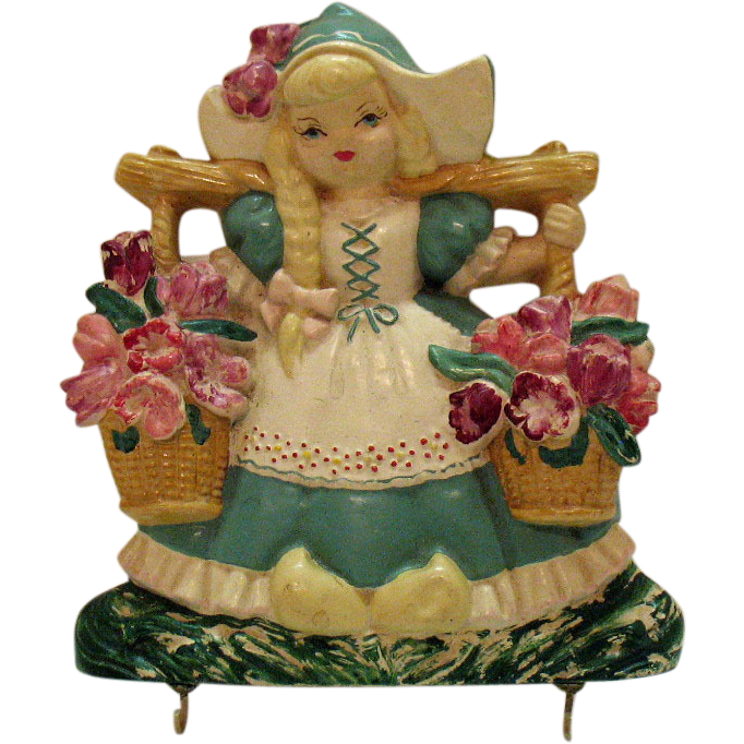 Vintage Dutch Girl Chalk ware Wall Plaque Hot Pad Holder 1950s Good Condition27