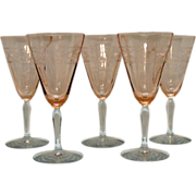 Vintage Fostoria Needle Etched 9 Oz Rose Colored Optic Goblets Eilene Pattern 1928-32 Very Good Condition