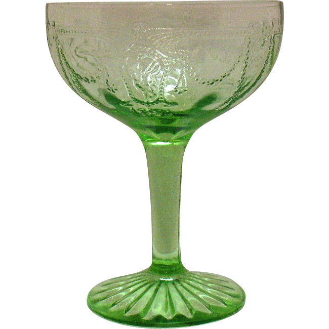 Vintage Hocking Depression Glass Green Tall Sherbet Cameo Pattern 1930-34 Very Good Condition