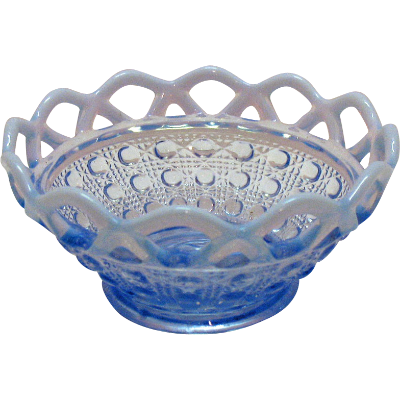 Vintage Imperial Depression glass Katy Blue Laced Edge Cereal Bowl Opalescent Edge 1930s Very Good Condition