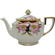 Vintage Noritake Porcelain Tea Pot Gold Finial Hand Painted Azalea Pattern #19322 Very Good Condition