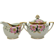 Vintage Noritake Porcelain Creamer & Sugar with Gold Finial in the Azalea Pattern #19322 Very Good Condition