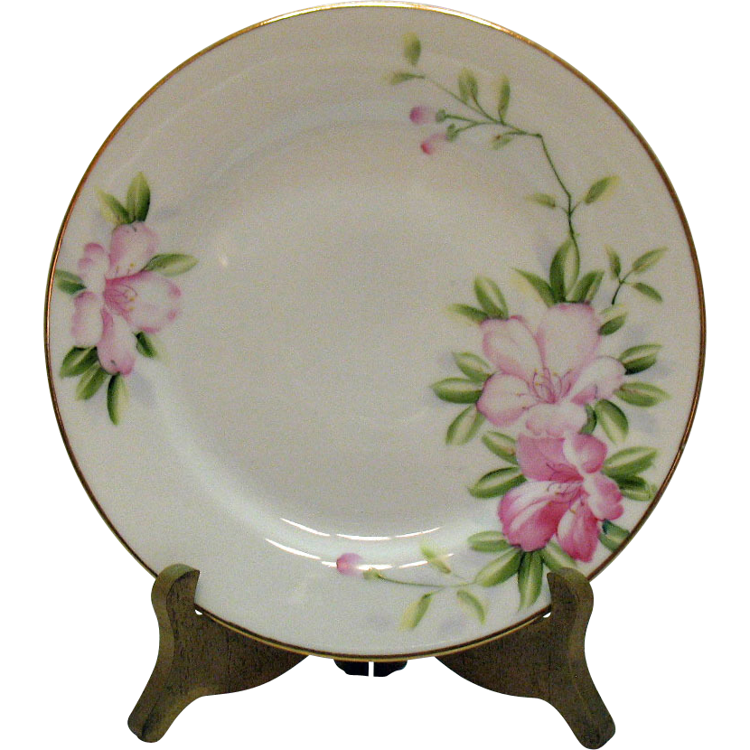 Vintage Hand Painted Nippon 5 Salad Plates Azalea Pattern #19322 Very Good Condition