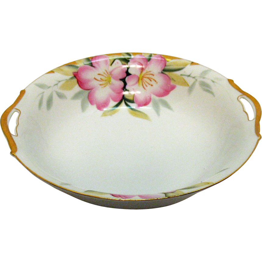 Vintage Noritake Round Vegetable Bowl Open Handles Azalea Pattern #19322 Very Good Condition