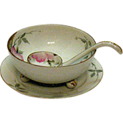 Vintage Nippon Whipped Cream Server Set Azalea Pattern #19322 Hand Painter Very Good Condition