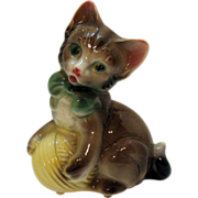 Vintage Spaulding China Co Figurine Royal Copley Cat & Ball of Yarn 1942-57 Very Good Condition