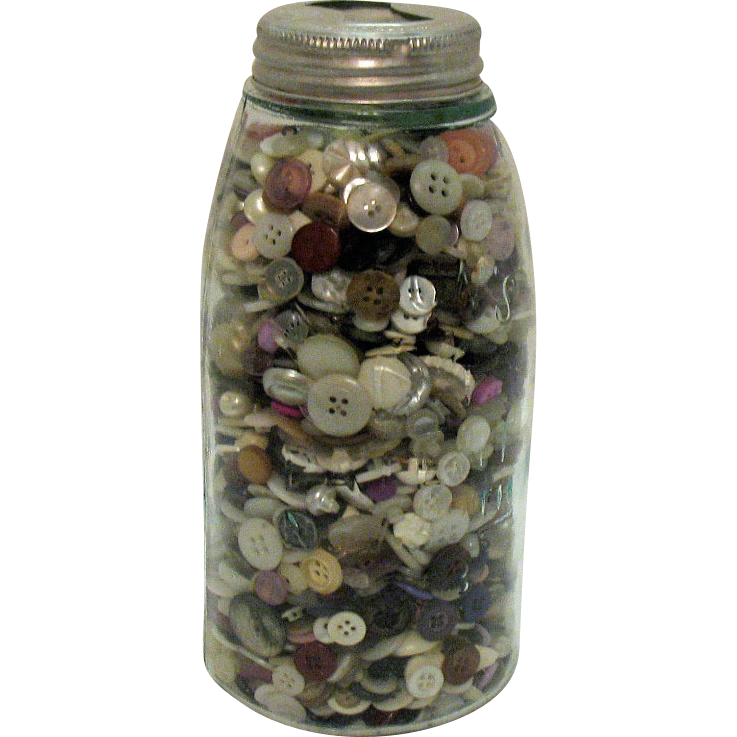 Vintage Transparent Green Mason Half Gallon Canning Jar Full of Vintage Buttons Early 1900s Good Condition
