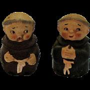 Vintage Friar Salt Pepper Shaker Set Imports 1950s Good Condition