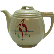 Vintage Hall Coffee Pot Made For The Enterprise Aluminum Co. 1930-50s Stork Motifs Very Good Condition
