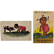 Two Vintage Black Americana Post Cards Early 1900s Good Condition