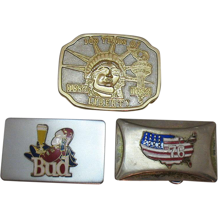 Vintage 3 Metal Belt Buckles from the 1970-80s Good Condition