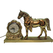 Vintage Western Horse Working Mantel Clock 1930-40s Very Good Condition