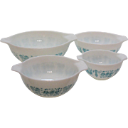 Vintage Pyrex Cinderella Nesting Bowls set Butter Print Turquoise Blue on White Very Good Condition