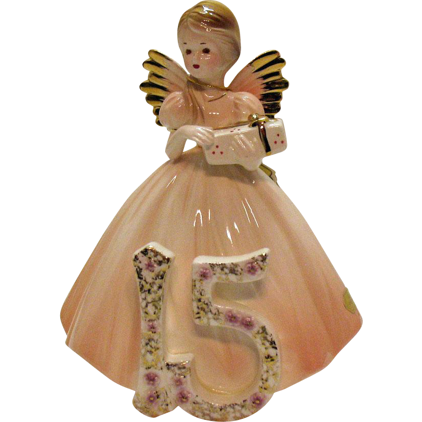 Vintage Josef Original 15th Year Birthday Girl Red/Brown Eyes Original Sticker Very Good Condition