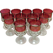 Vintage (11) Kings Crown Ruby Flashed Water Goblets by Tiffin in Very Good Condition