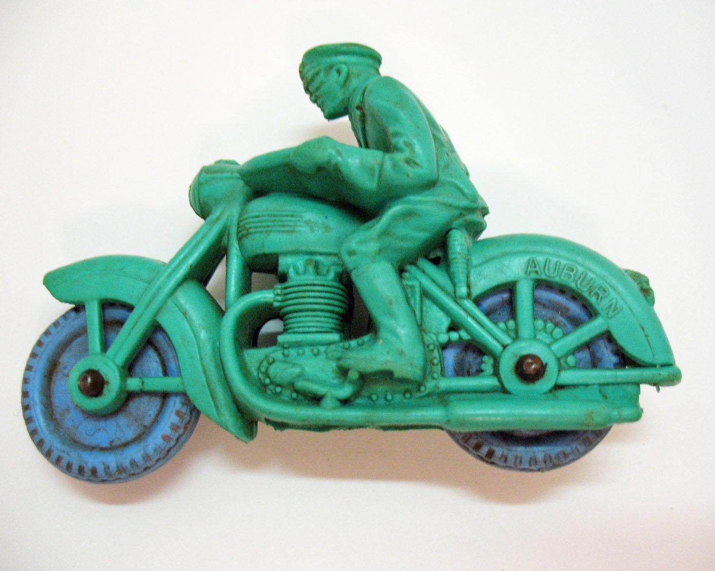Vintage Auburn Rubber Toy Co Vinyl Police Motorcycle Toy