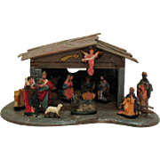 Vintage Nativity Scene Hard Plastic 1950s Good Condition
