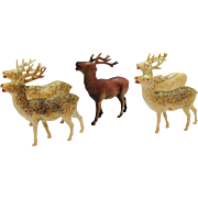Vintage Celluloid Reindeer with Mica Glitter 1946-52 Made in Occupied Japan Very Good Condition
