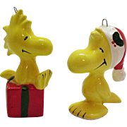 (2) Vintage Peanuts Character & Snoopy's Side Kick Woodstock Ceramic Christmas tree Ornaments 1960s Good Condition