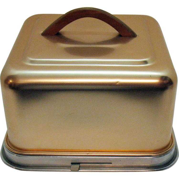 Vintage Square Anodized Aluminum Cake Carrier Late 50s Early 60s Very Good Condition