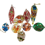 Vintage 9 Italian Hand Blown & Hand Painted Thin Glass Christmas tree Ornaments from 1960s Very Good Condition