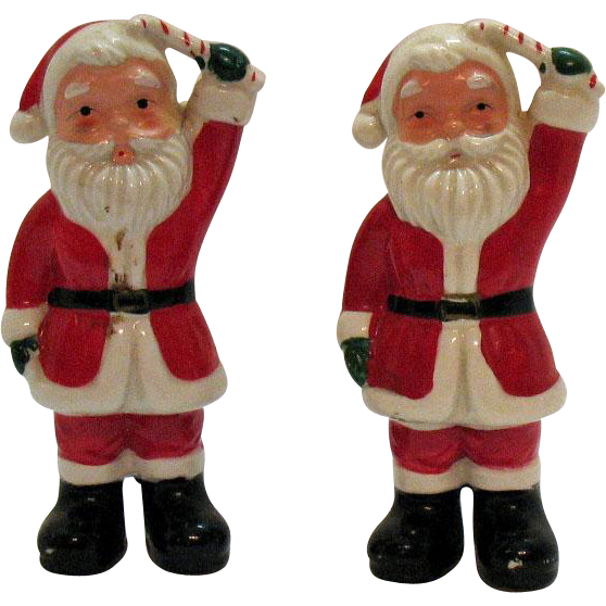 Vintage Santa Claus S&P Shakers 1950s Good Condition