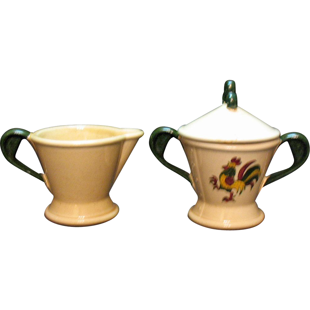 Vintage Metlox Vernon Poppytrail California Provincial Pattern Creamer & Sugar Bowl with Lid 1956-82
