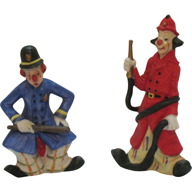 Two Vintage Mann Decorative Clown Porcelain Figurines 1980s Good Condition
