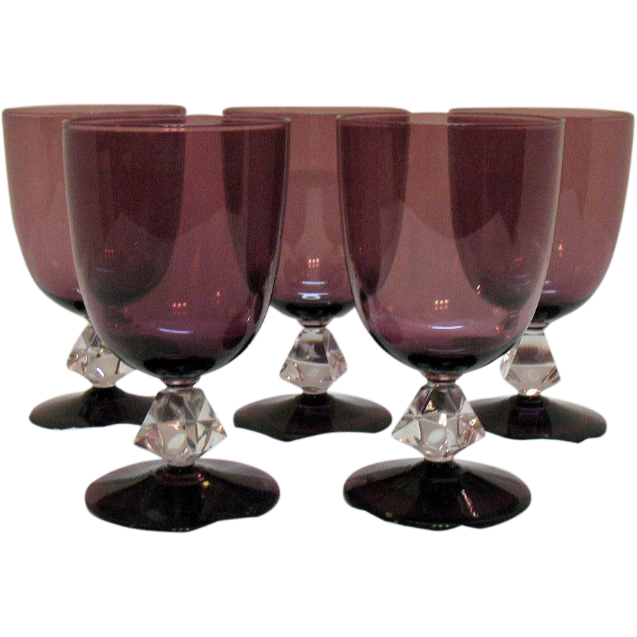 Vintage (5) Water Goblets by Bryce Aquarius Amethyst Bowl & Foot Pattern #961 Very Good Condition