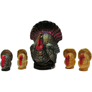 Vintage Thanksgiving Turkey Candles by Gurley & Wayside Good Condition