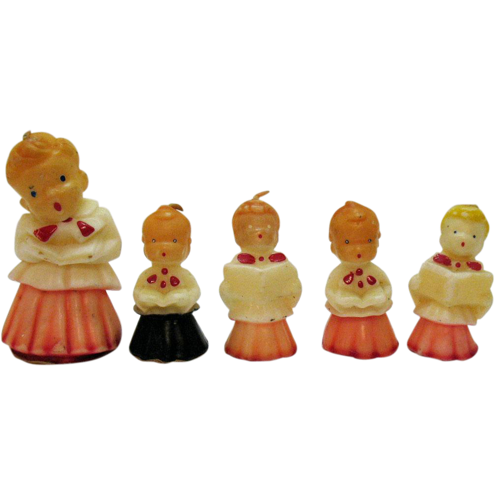 Items Similar To Vintage Santa S Workbench Dickens Choir: Vintage (5) Unused Gurley Choir Boy Candles 1940-50s Good