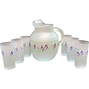 Vintage Frosted Pitcher & Glasses Pink Violets Motif Very Good Condition