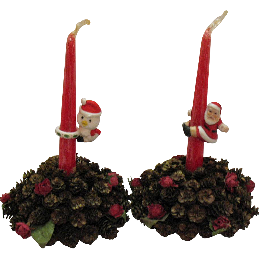 Vintage Table Decorative Christmas Candle Holders/Center Pieces 1950-60s Good Condition