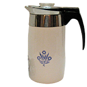 Vintage Corning ware 10 Cup Electric Coffee Pot Blue Cornflower Motif Very Good Condition