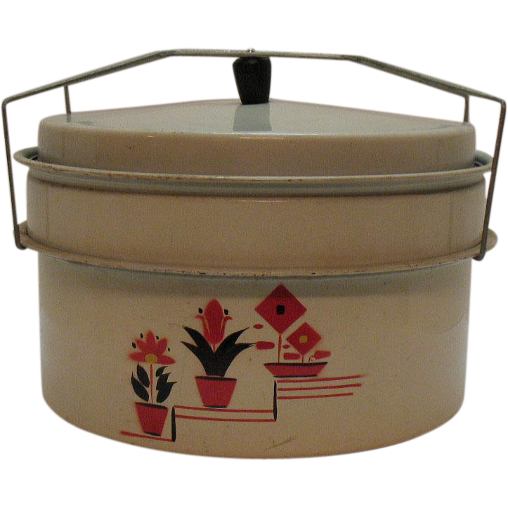 Vintage Metal Pie/Cake Carrier 1930-40s Flower Motif Good Condition