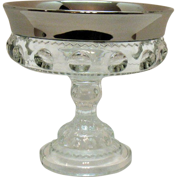 Vintage Kings Crown Thumbprint Indiana Glass 1970s Platinum Flashed Very Good Condition