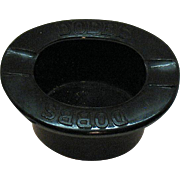 Vintage Black Glass Dobbs Advertising Ashtray Shape of a Hat 1930-60s Good Condition