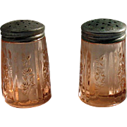 Vintage Federal Glass Co. Pink Depression S&P Shakers Sharon/Cabbage Pattern 1935-39 Very Good Condition